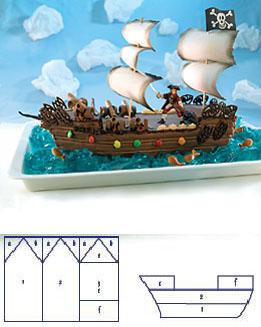 Eine Tolles Piratenschiff Aus Schokolade Als Geburtstagskuchen